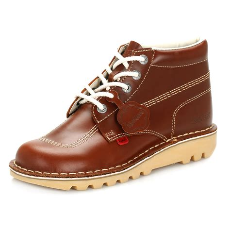 kickers brown kickers mens ankle boots brown kick hi leather lace up