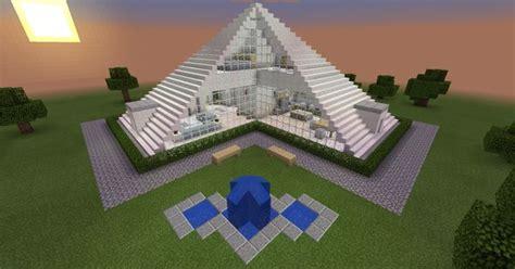 minecraft glass pyramid house creation fountain modern home minecraft pinterest fountain