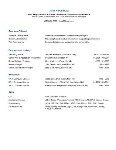 Chronological Resume By Hloom by 30 Basic Resume Templates