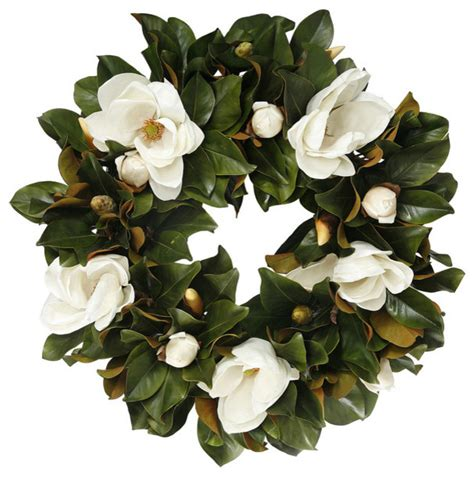 magnolia bloom wreath 30 inch contemporary wreaths and