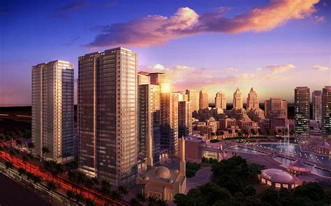 Sunset Over City, 3d Architectural Renderings Pictures 1
