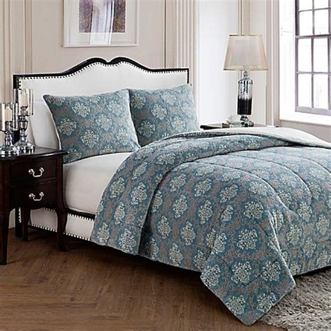 blue damask comforter set buy vcny jacquard damask king comforter set in blue from bed bath beyond