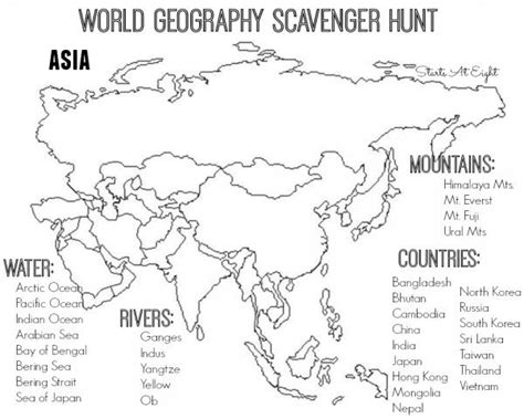 World Geography Scavenger Hunt Asia  Free Printable  Pinterest  Geography, Asia And Social