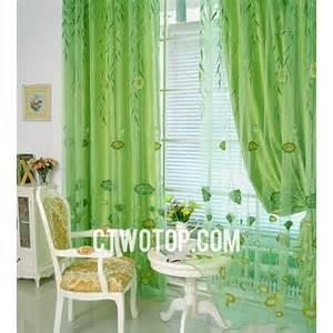 green sheer curtains closed
