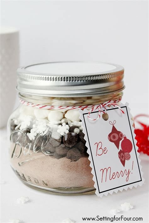 diy mason jar gift snowflake hot chocolate setting