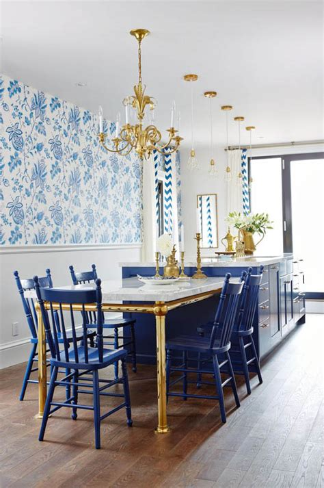 regal kitchen  royal blue gold interiors  color