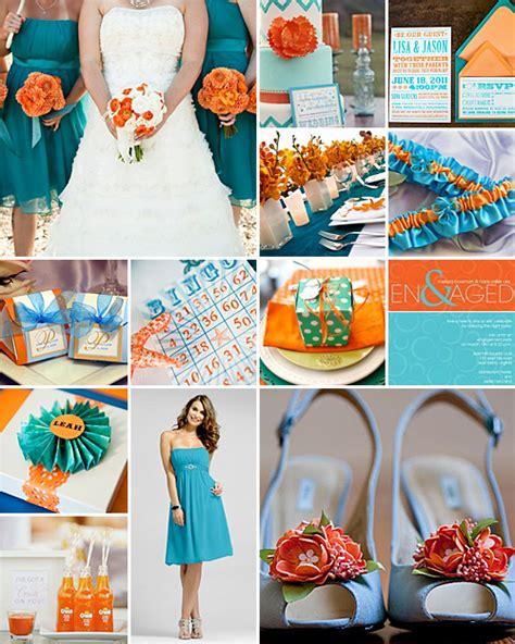 turquoise  orange weddings