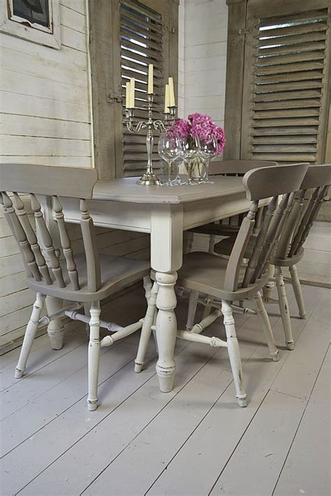 grey and white dining table grey white shabby chic dining table with 4 chairs
