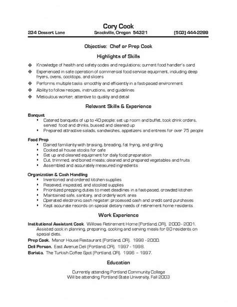 prep cook resume invitation sle resume