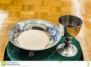 Catholic Bread And Wine In Silver Chalice Stock Photo ...