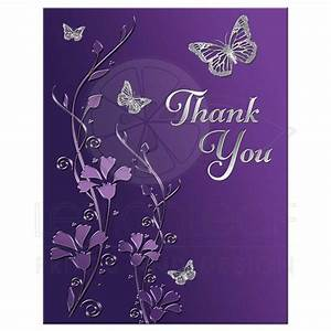 Bat Mitzvah Thank You Note Card - FLAT Purple, Silver