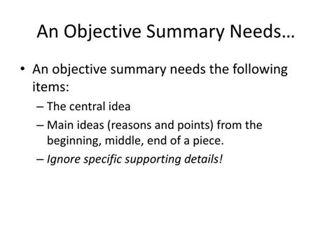 ppt how to write an objective summary powerpoint
