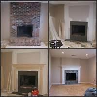 brick fireplace remodel Brick fireplace makeover: before, during, after   Fireplace Makeovers   Fireplace remodel, Brick ...
