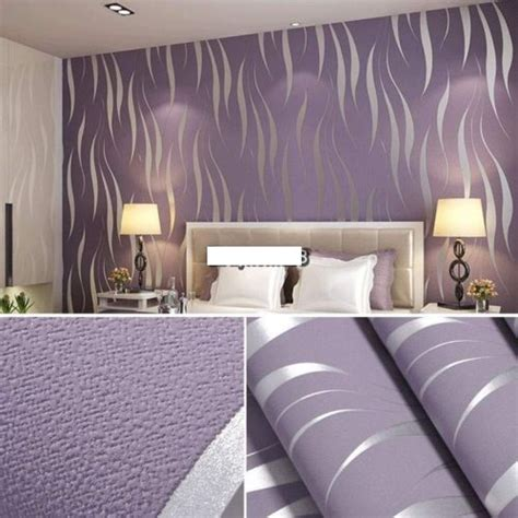 4 murs papier peint chambre roll 3d embossed flocking waves wallpaper on luulla