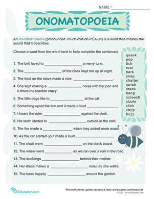 onomatopoeia worksheets high school what is onomatopoeia worksheet education com