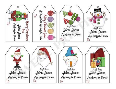 8 best images of personalized christmas tags free