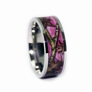 Pink camo wedding rings flat titanium camouflage band by for Camoflauge wedding rings