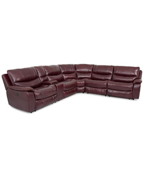macys leather sectional sofa closeout daren leather 6 pc sectional sofa with 3 power