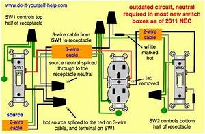 Diagram For Two Switches Controlling One Split Outlet In