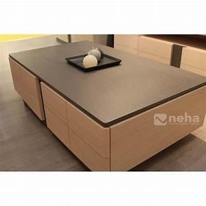 Table Basse Moderne : table basse de salon avec plateau en placage chene ou ~ Melissatoandfro.com Idées de Décoration