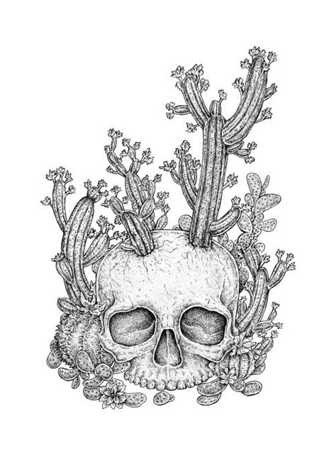 Cactus Skull Black White Ink Drawing Eugenia Hauss