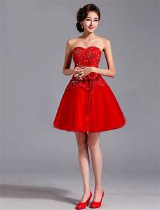 short red lace wedding dress with flower accessory sang With short red wedding dresses