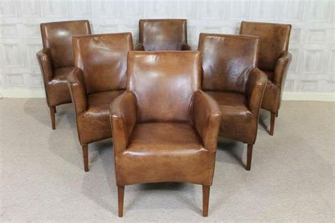 Tan Leather Antique Style Armchair Vintage Style Dining
