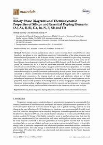 Pdf  Binary Phase Diagrams And Thermodynamic Properties Of Silicon And Essential Doping