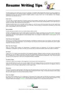 tips for writing a resume cover letter resume writing tips and sles sle resume format
