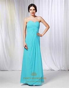 Aqua Blue Long Bridesmaid Dresses, Pleated Chiffon ...