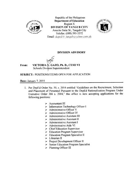 positionsitems open  application deped division