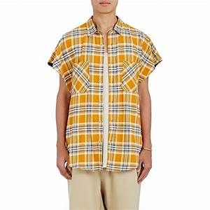 Fear of god Brushed Flannel Sleeveless Shirt in Yellow for Men | Lyst