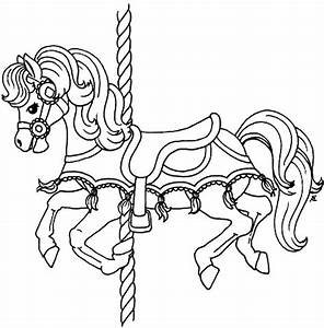 pin carousel horse coloring pages fancy page on pinterest With merry go round horse template