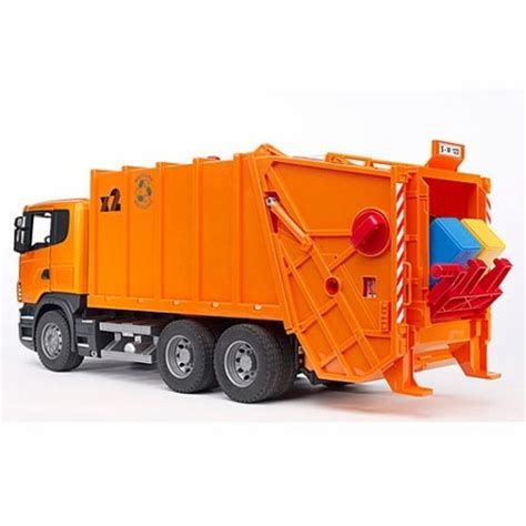 bruder garbage bruder scania r series orange toy garbage truck