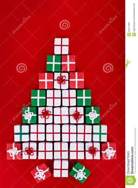 christmas tree   tiny gift boxes stock image image