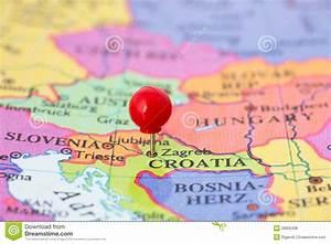 Red Pushpin On Map Of Croatia Stock Photo Image 29855338