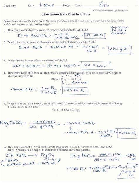 percent yield chem worksheet   answer key