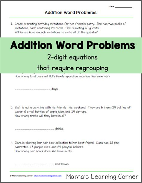addition word problems  regrouping mamas learning
