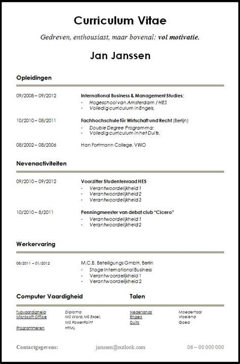 curriculum vitae curriculum vitae gratis nederland