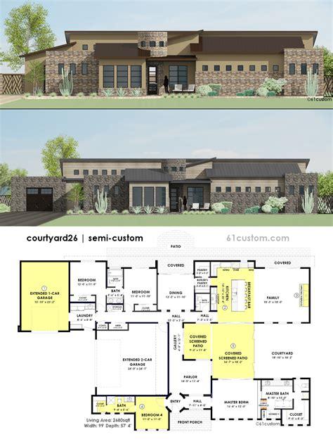 courtyard plans contemporary side courtyard house plan contemporary