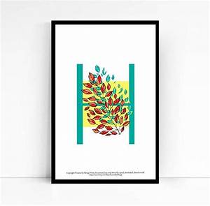 letter h wall art alphabet print leaves home decor 5x7 With letter h wall art