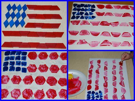 easy patriotic pattern block painted flag craft 545 | Pattern Block Printed Flags Collage 2