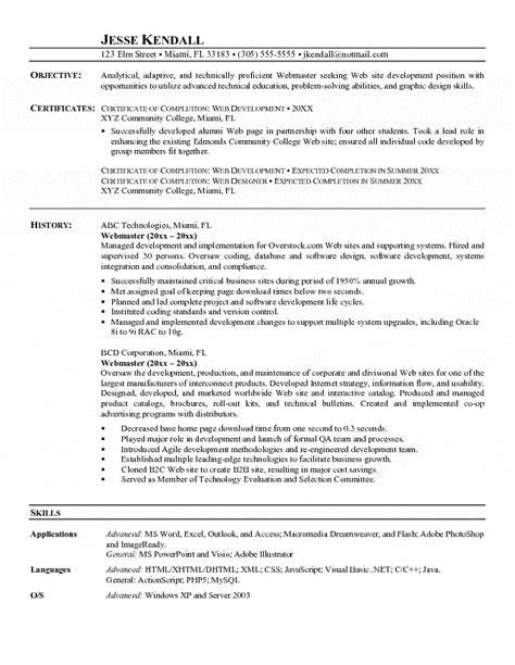 webmaster resume