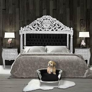 Canapé Lit Velours : canap lit baroque pour chien ou chat velours noir et bois argent ~ Teatrodelosmanantiales.com Idées de Décoration