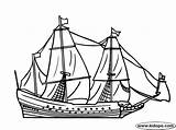 Ship Sailing Coloring Century 17th Ships Clipper Colouring Template sketch template