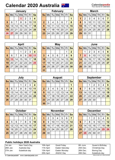 australia calendar   printable word templates
