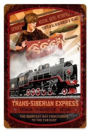 trans siberian express vintage metal sign