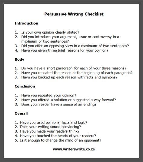 persuasive writing checklist  writing  business