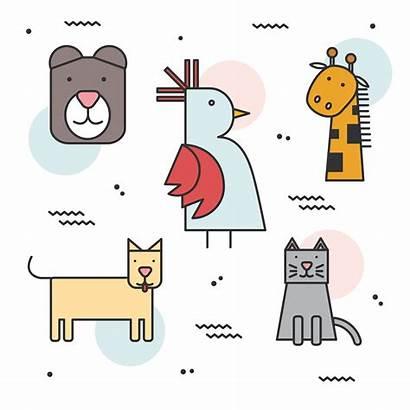 Geometric Animals Simple Shape Vector Animal Clipart