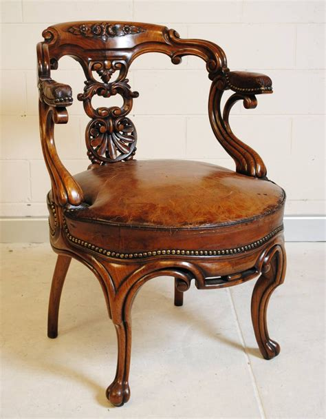 french antique rosewood desk chair  leather seat image